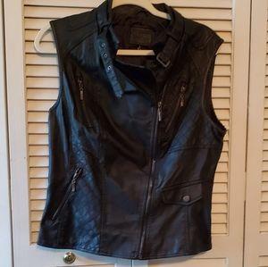Chelsea & Violet Faux Black Leather Vest